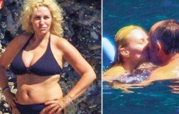 Antonella Clerici si tuffa nelle acque cristalline con Vittorio Garrone