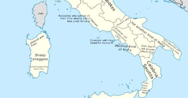 L'Italia nella mappa degli stereotipi e degli insulti